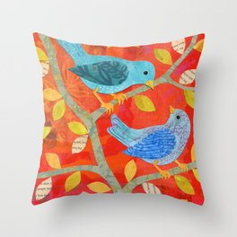 Two Birds on Red Throw Pillow