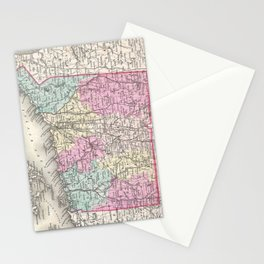 Vintage Map of Connecticut (1857) Stationery Cards