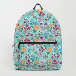 Cute Pink & Blue Small Floral Mint Design Backpack