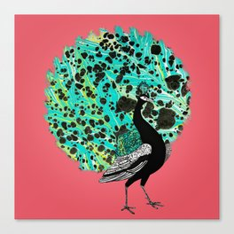 Neon Peacock Canvas Print