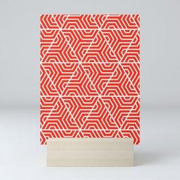 Red (RYB) - red - Geometric Seamless Triangles Pattern Mini Art Print