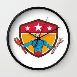 Superhero Handyman Spanner Wrench Shield Cartoon Wall Clock