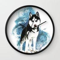husky Wall Clocks featuring Siberian Husky by Cami Landia