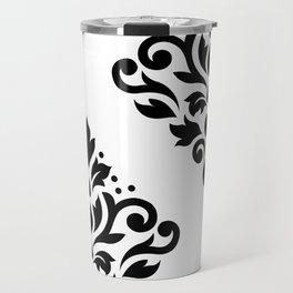 Scroll Damask Art I Black on White Travel Mug