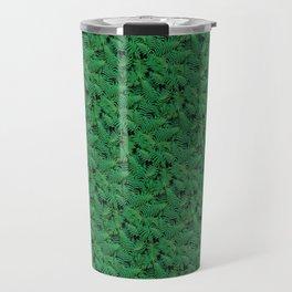 Deep Green Nostalgic Fern Grid Pattern Travel Mug