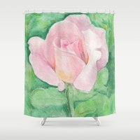 tiffany Shower Curtains featuring Tiffany Rose by Annie Mason