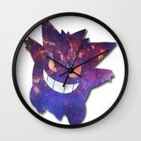 gengar Wall Clocks featuring Galaxy Gengar by Visual Declaration