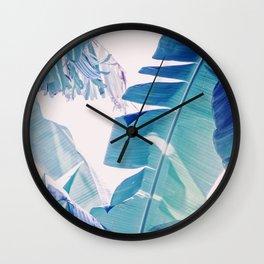 Banana Leaf Blue Wall Clock