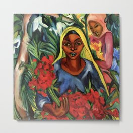 African American Portrait 'The Flower Market' by E. Stern Metal Print