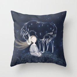 My Silver Horse Throw Pillow