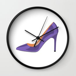 High Heel Shoe in Ultra Violet Wall Clock