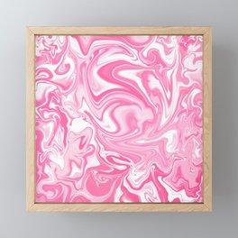 Pastel Pink Swirly Paint Pour Pattern  Framed Mini Art Print