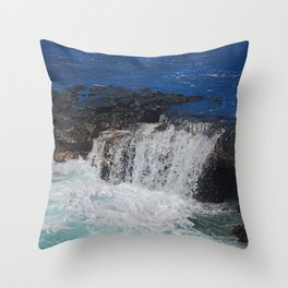 Ocean Waters Spilling Over rocks Throw Pillow