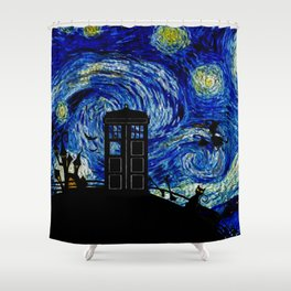 Starry Night at Halloween Shower Curtain
