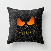jack skellington Throw Pillows featuring Jack Skellington Nightmare by neutrone