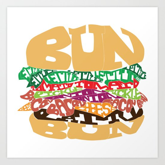 Word Drawing Burger Art Print