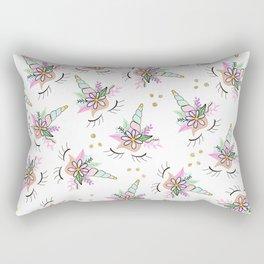 Modern cute whimsical floral unicorn pattern illustration gold glitter polka dots Rectangular Pillow