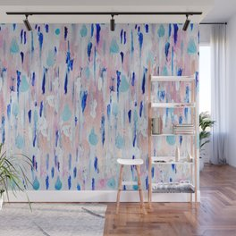 Abstract Painting Blue Pink Copper Wall Mural