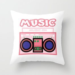 "Cute and  pink ""Radio Music"" tee design. Makes a nice gift to your friends and family this holiday!  Throw Pillow"