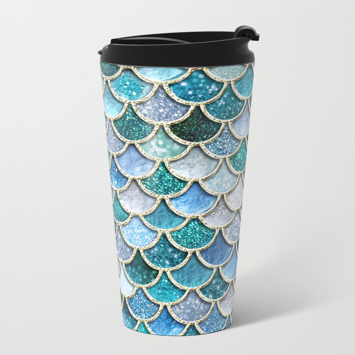 Multicolor Aqua Mermaid Scales - Beautiful Abstract Glitter Pattern Metal Travel Mug