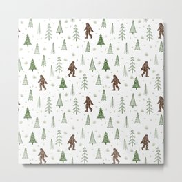 trees + yeti pattern in color Metal Print