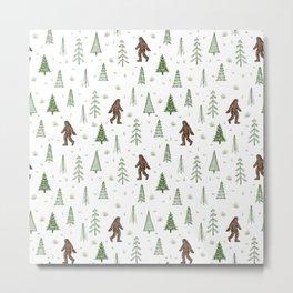 trees + yeti pattern in color Metal Print