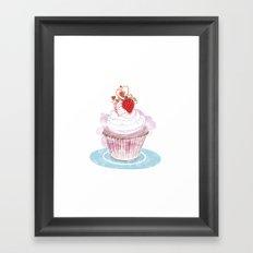 Strawberry Cupcake  Framed Art Print