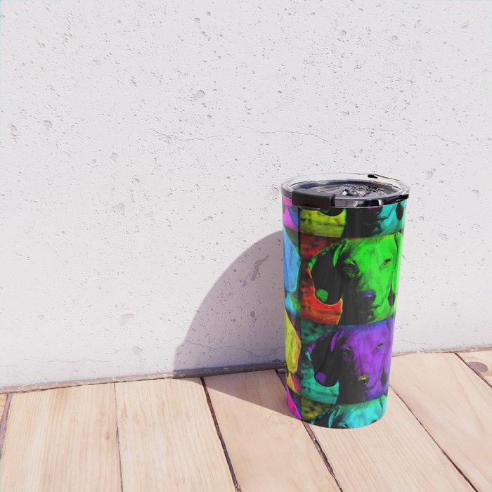 Colorful Pop Art Dachshund Doxie Face Closeup Tiled Image Travel Mug