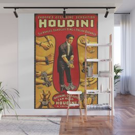 Houdini, vintage theater poster, color Wall Mural