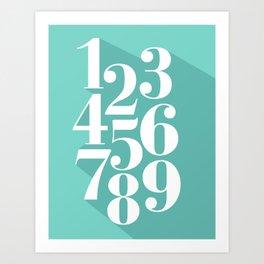 Flat Numbers Art Print