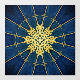 Navy Blue and Brushed Gold Flower Canvas Print