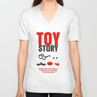 toy story V-neck T-shirts featuring Toy Story Movie Poster by FunnyFaceArt