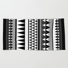 TRIBAL BOHEMIAN BLACK AND WHITE Beach Towel
