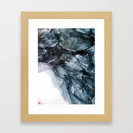 Dark Payne's Grey Flowing Abstract Painting Framed Art Print