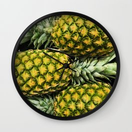 Horizontal Hawaiian Pineapples Wall Clock