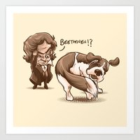 beethoven Art Prints featuring Beethoven!? by Alberto Arni
