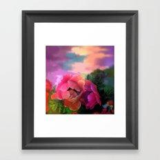 Summer garden with Anemones Framed Art Print