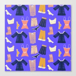 Colorful hanging clothes seamless pattern. Creative and modern graphic design. Vibrant colors. Canvas Print