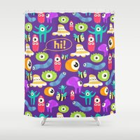 monsters Shower Curtains featuring monsters by Ceren Aksu Dikenci