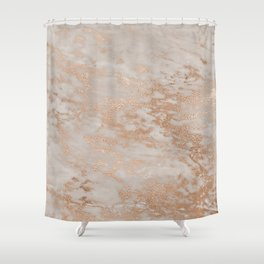 Rose Gold Copper Glitter Metal Foil Style Marble Shower Curtain