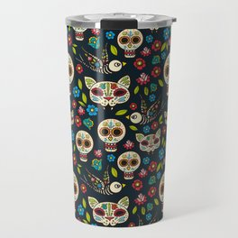 Day Of The Dead Pattern | Dia De Los Muertos Skull Travel Mug