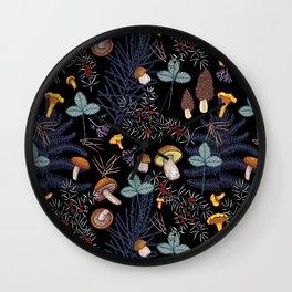 dark wild forest mushrooms Wall Clock