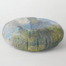 The Walk, Woman with a Parasol by Claude Monet Floor Pillow