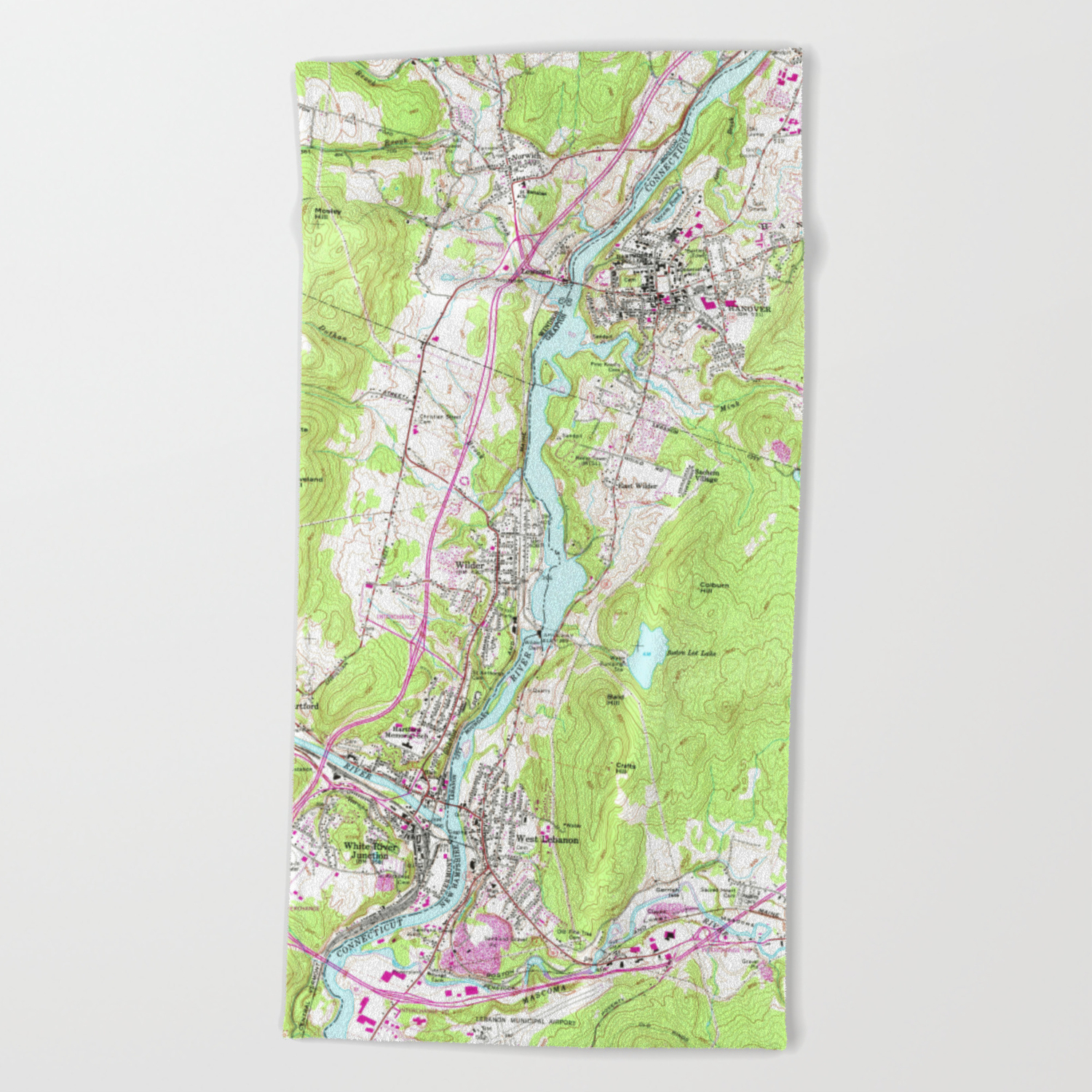 Vintage Lebanon Hanover New Hampshire Map 1959 Beach Towel By Bravuramedia Society6,Best Places To Travel In December And January