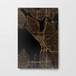 Black and gold Seattle map Metal Print