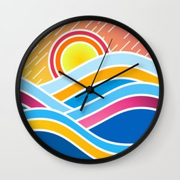 Dynamic Abstraction of Waves and Mountains Over a Rainy Summer Sunrise Wall Clock