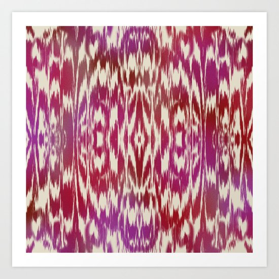 Ikat: Red, Pink Multi Art Print