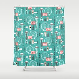Seattle travel art cute decor for nursery kids room pattern girls or boys Shower Curtain