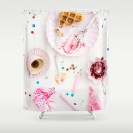 Bhday party leftovers Shower Curtain