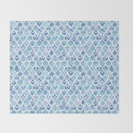PAISLEY MERMAID Watercolor Scale Pattern Throw Blanket